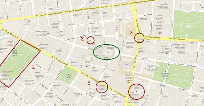 Карта на София: Александър Невски и други забележителности в София