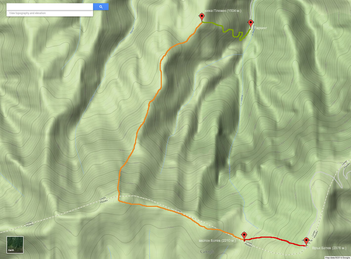 Топографска карта на маршрут до връх Ботев, Стара планина