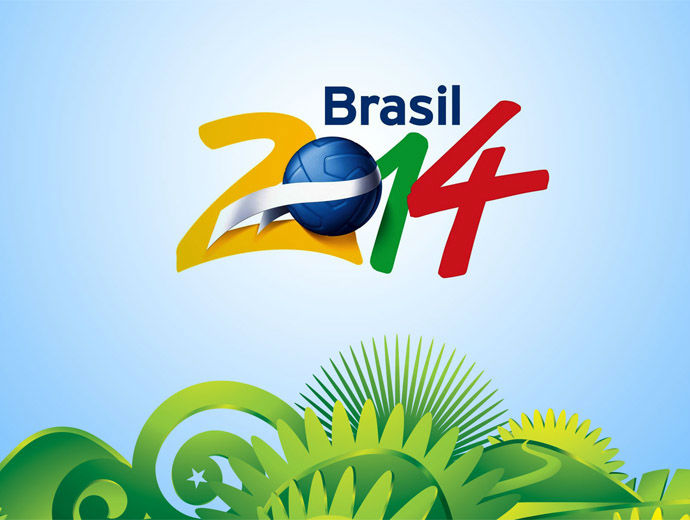 Лого на Световното в Бразилия - 2014 с футболна топка и свежи зелени и сини мотиви.