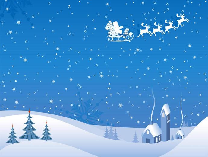 Зимна картина - снежен човек и шейната на Дядо Коледа