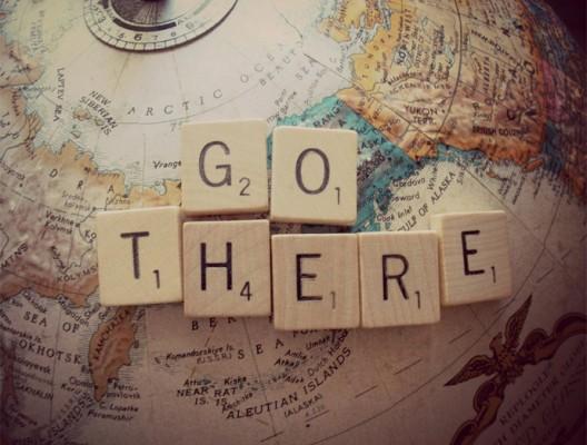 Част от глобуса с надпис Go there