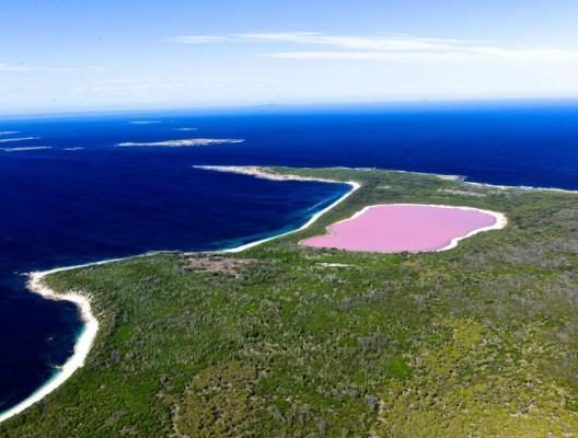 Розовото езеро Хилиър, Австралия снимано от въздуха.