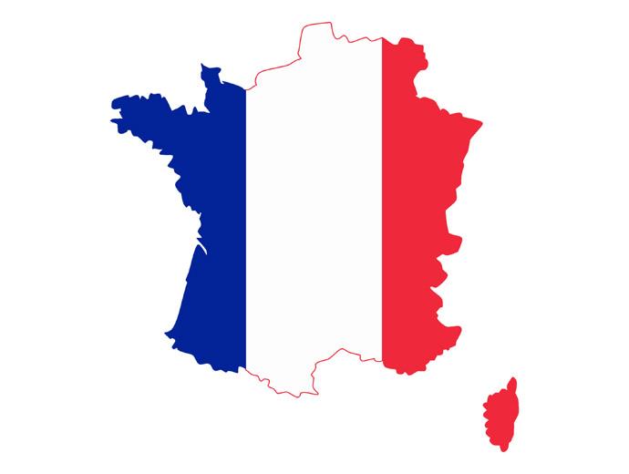 Интересни факти за Франция - френското знаме, наложено върху държавните граници.