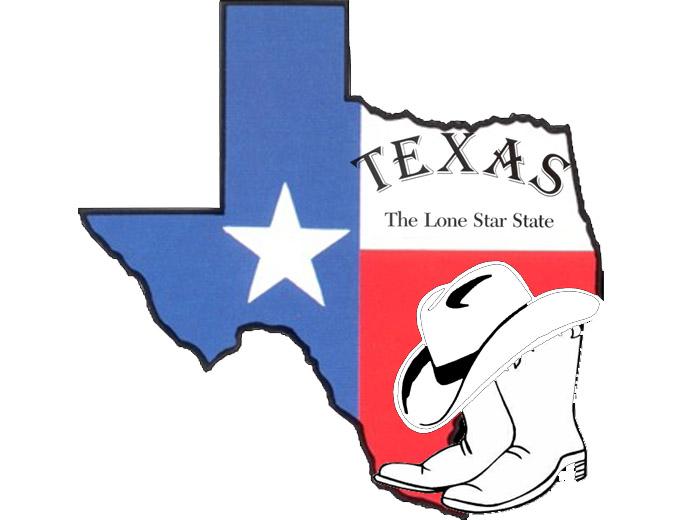 Знамето на Тексас и каубойски символи на щата.