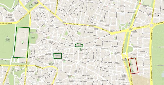 Карта на Мадрид - Плаза Майор, Кралския дворец и площада Пуерта дел Сол