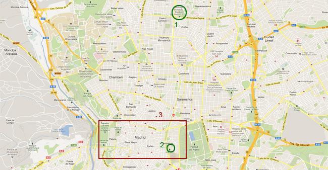 Карта на Мадрид - Сантяго Бернабеу, Музея Прадо и централната част на Мадрид