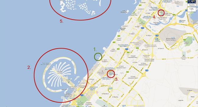 Карта на Дубай - Бурж ал Араб и други забележителности в Дубай