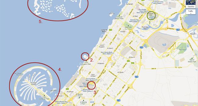 Карта на Дубай - Бурж Халифа и други забележителности в Дубай