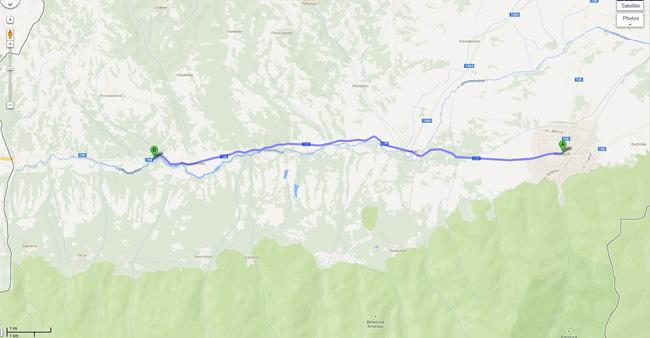Карта до Самуиловата крепост от град Петрич.