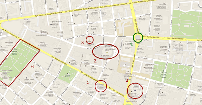 Карта на София: Паметник на Васил Левски и други забележителности в София