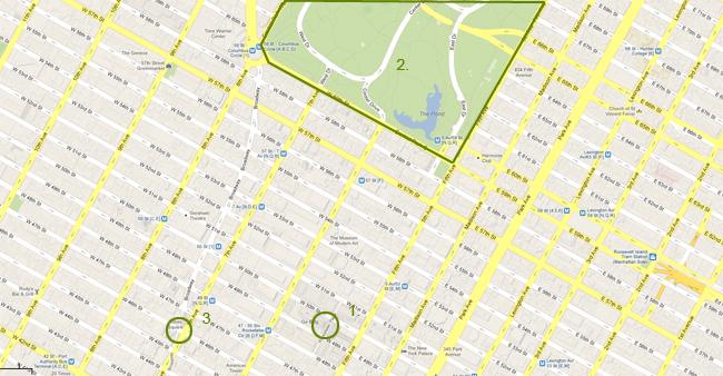 Карта на Ню Йорк - Сентръл Парк, Рокфелер сентър, Таймс скуеър