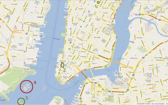 Карта на Ню Йорк - Статуята на Свободата, Емпайър Стейт Билдинг и Кулите близнаци
