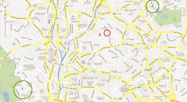 Карта на Куала Лумпур - Птичия парк, Кулите Петронас и Телевизионната кула.