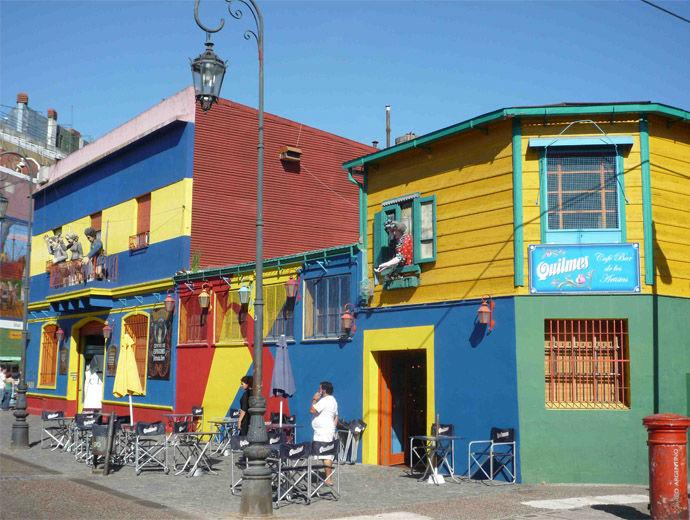 Къщи в синьо, жълто, зелено и червено - това е Ла Бока, Буенос Айрес!