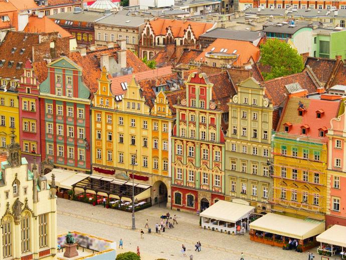 Цветните сгради на Вроцлав, Полша погледнати от високо.