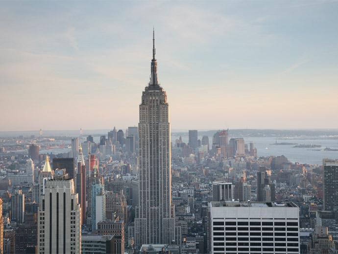 Емпайър Стейт Билдинг в Ню Йорк, снимана от Рокфелер Сентър