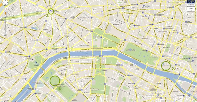 Карта на Париж - Айфеловата кула, Лувъра и Триумфалната арка
