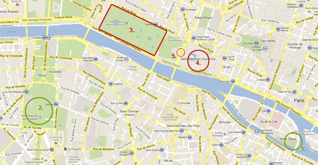 Карта на Париж - Дом на инвалидите, Нотр Дам, Лувъра, градините на Тюлери