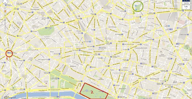 Карта на Париж - Триумфалната арка, Лувъра, градините Тюлери и Сакре кьор.
