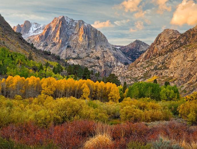 Разноцветни есенни дървета около река, а в далечината заснежени планини.