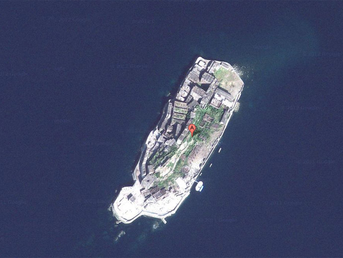 Остров Хашима, погледнат през Google maps