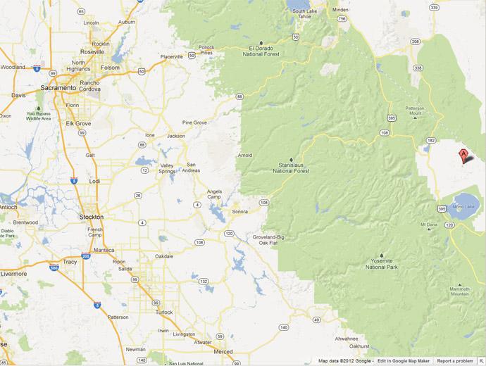 Карта от Googlemaps, къде се намира Боди. Вижда се град Сакраменто, а на изток е и Сан Франциско