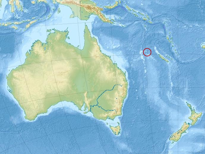 Карта на Австралия и Океания. В червения кръг е предполагаемото разположение на остров Санди.