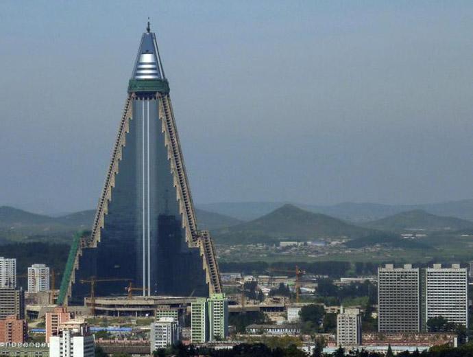 Хотел Рюгьон в Пхенян, Северна Корея, е в топ 3 на най-високите хотели в света.