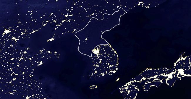 Северна Корея през нощта