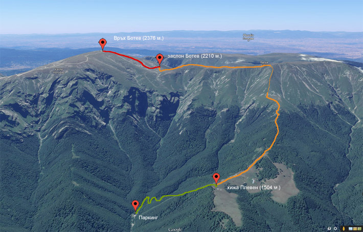 Карта на маршрута хижа Плевен - връх Ботев в Стара планина