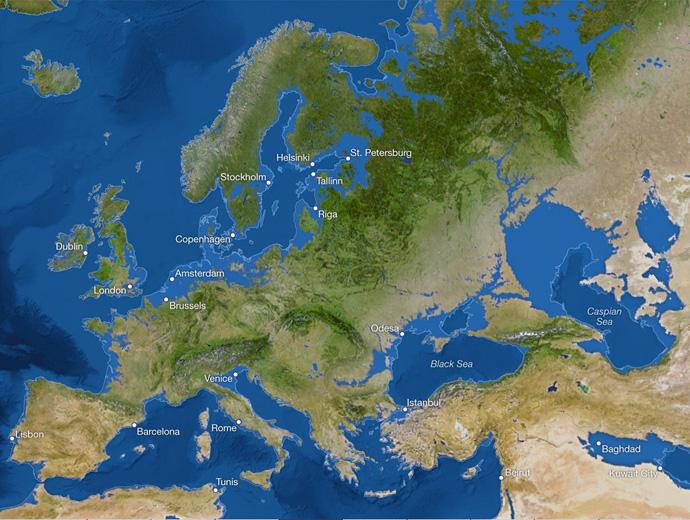Европа след топенето на ледовете - повечето крайбрежни градове са под водата.